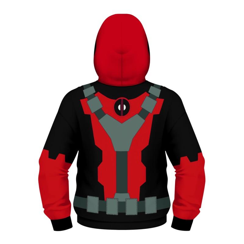 Kids Deadpool Zip Up Long Sleeve Hoodies