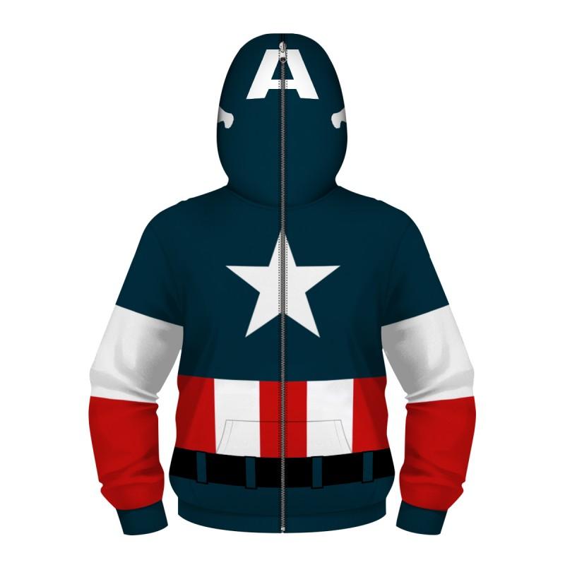 Kids Captain America Zip Up Long Sleeve Hoodies