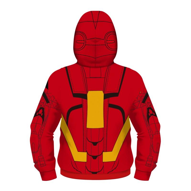 Kids Iron Man Zip Up Long Sleeve Hoodies