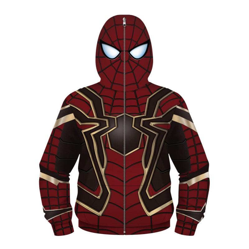 Kids Iron Spider Armor Hoodie Spider-Man Zip Up Sweatshirt