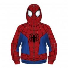 Kids Spiderman Zip Up Long Sleeve Hoodies