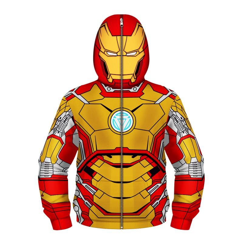 Iron Man Fashion Zip Up Long Sleeve Hoodie For Kids