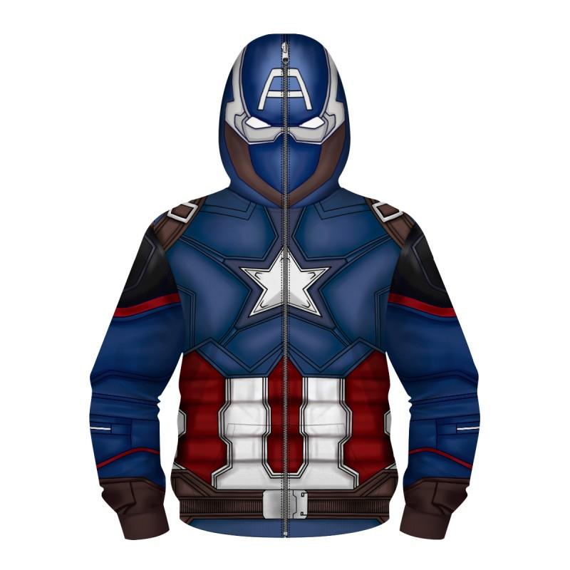Kids Captain America Zip Up Hoodie