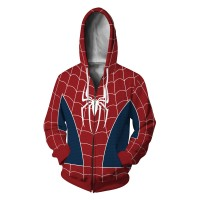3D Printed Spider Man PS4 Zip Up Hoodie