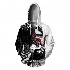3D Print Pattern Venom Long Sleeve Zip Up Hoodie