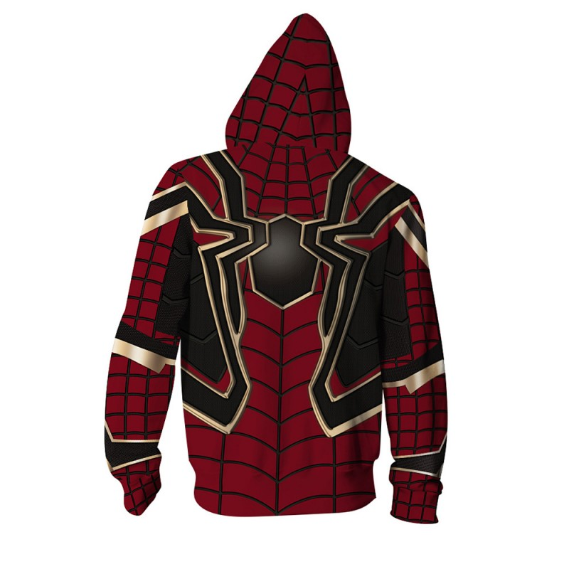 3D Print Pattern Avengers Endgame Spider Man Zip Up Hoodie