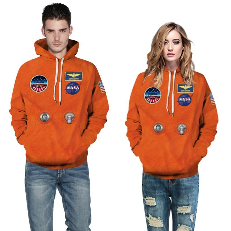 Orange Nasa Astronaut Suit 3D Print Long Sleeve Hoodie
