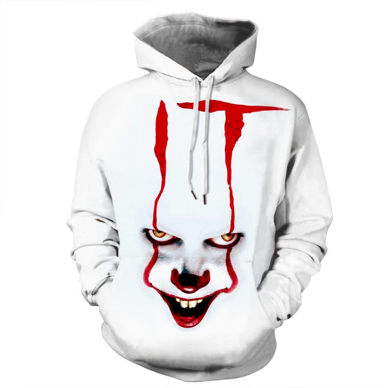 Pennywise White Hoodie It Chapter Two Halloween Sweatshirt