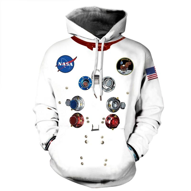 3D Print Nasa Astronaut Pattern Long Sleeve Hoodie