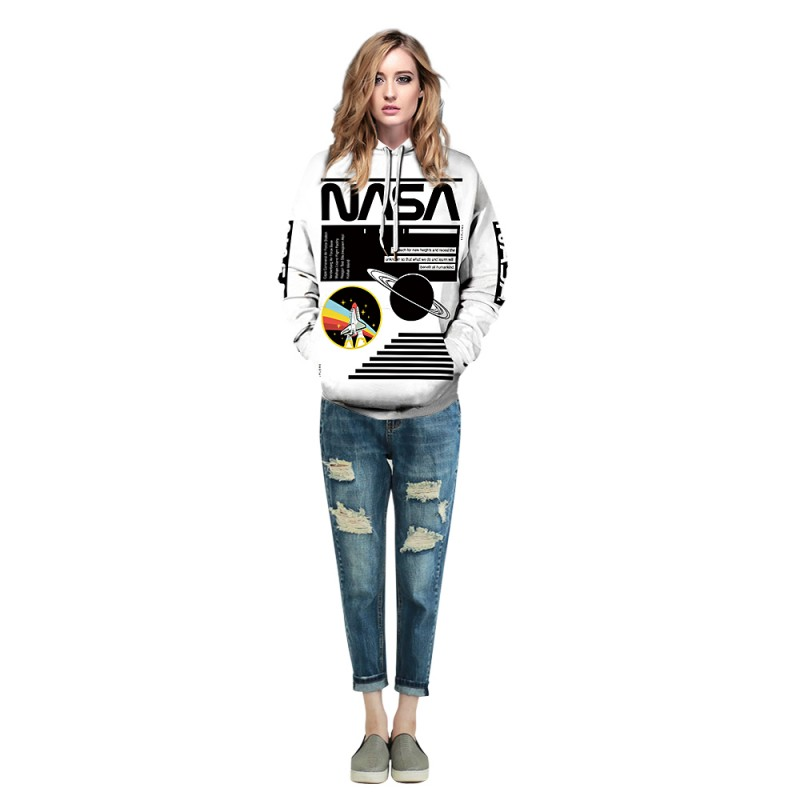 Space Astronaut 3D Print Long Sleeve Sweatshirt NASA Logo Hoodie