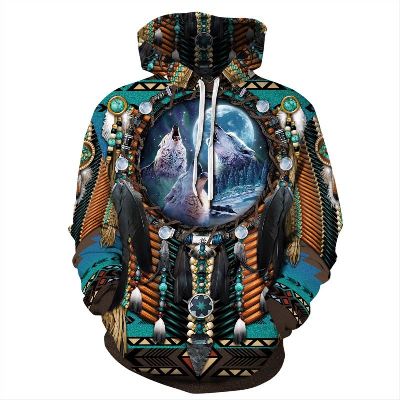 Native American 3D Print Long Sleeve Hoodie