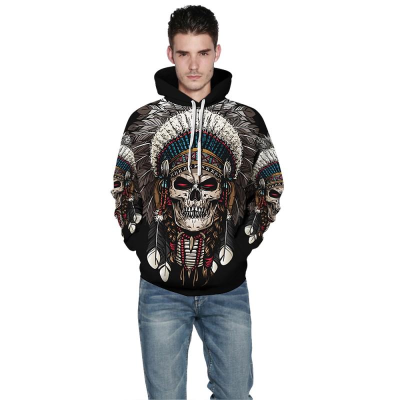3D Print Tribal Style Native American Skull Pattern Hoodie