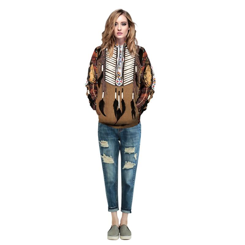 Tribal Style 3D Print American Indian Pattern Long Sleeve Hoodie