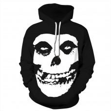 3D Print Skull Pattern Halloween Black Hoodie
