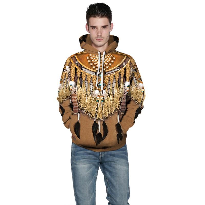 Tribal Style Native American 3D Print Pattern Long Sleeve Hoodie