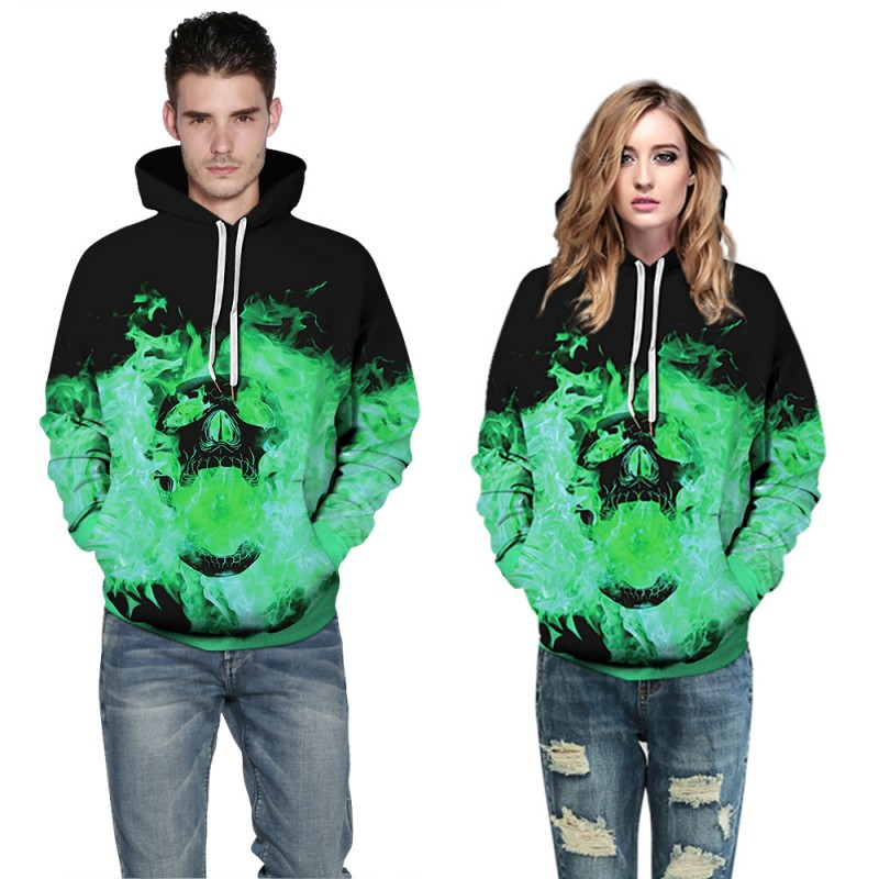 Halloween Daily Going Out Skull Pattern Long Sleeve Hoodie