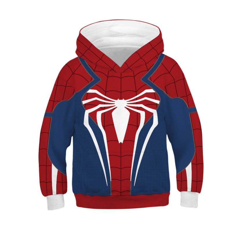 Kids Spider Man PS4 3D Print Pattern Long Sleeve Hoodie