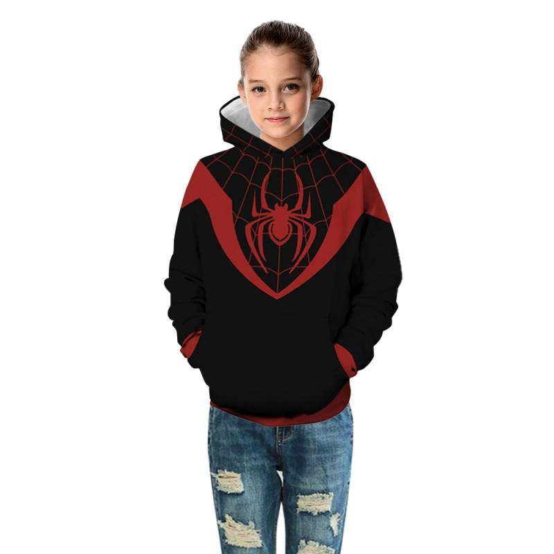 Kids Fashion Spider Man Miles Morales Pattern Long Sleeve Hoodie