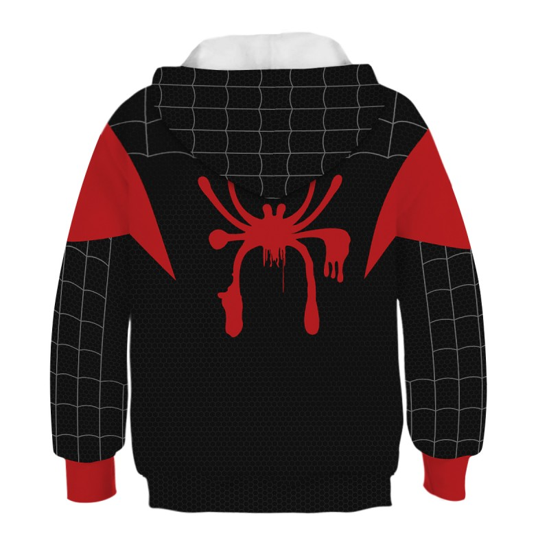 Kids Spider-Man Into the Spider-Verse Pattern Miles Morales Long Sleeve Hoodie