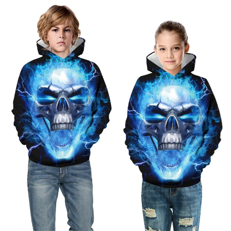 Kids Halloween Daily Going Out Skull Pattern Long Sleeve Hoodie