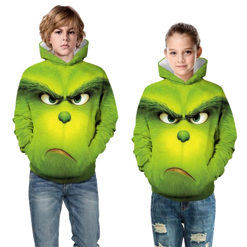 Kids Fashion The Grinch Pattern Long Sleeve Hoodie