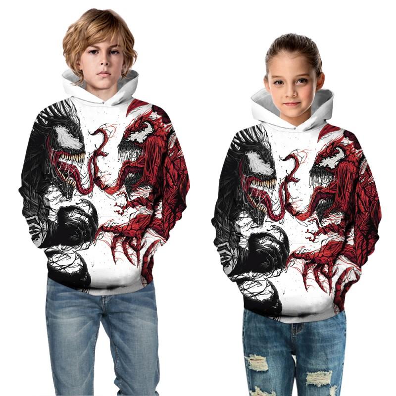 Kids Venom Pattern Long Sleeve Hoodie