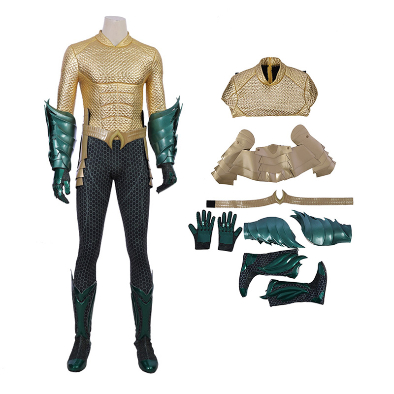 2018 DC Superhero Arthur Curry Costumes Aquaman Cosplay Costume Deluxe Suit