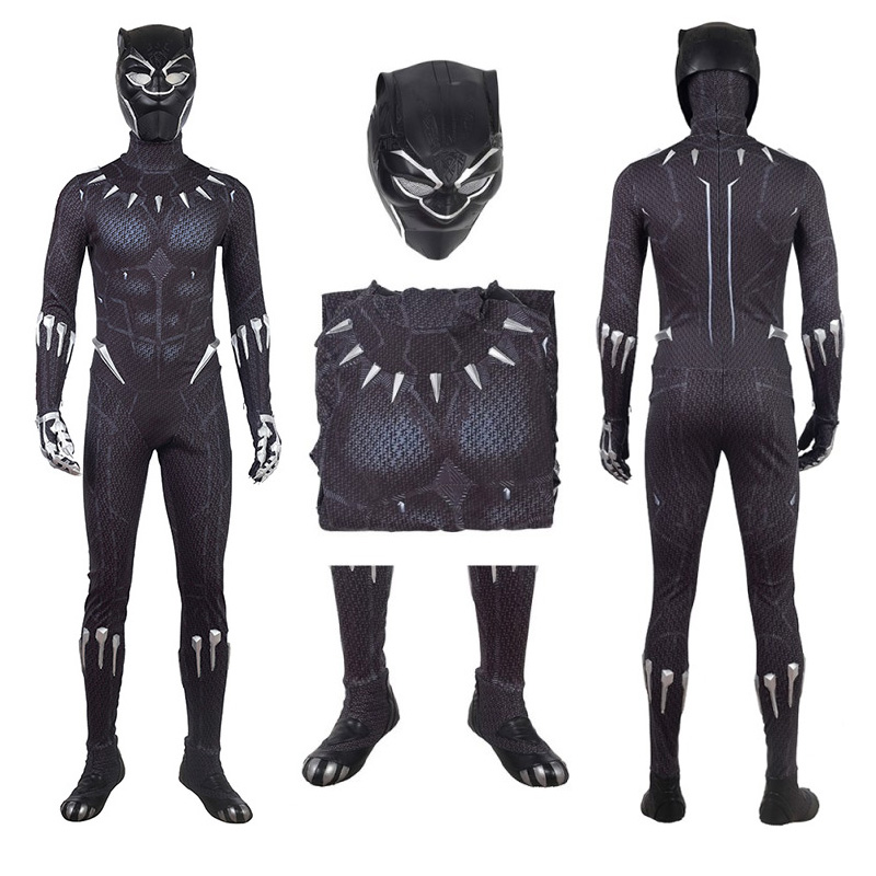 The Avengers Black Panther Costume Black Jumpsuit T'Challa Cosplay Costume