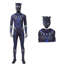 The Avengers Captain America Black Panther T'Challa Blue Jumpsuit Cosplay Costume