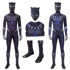 Black Panther Costume T'Challa Blue & Purple Jumpsuit Cosplay Costume