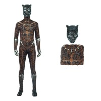 The Avengers Captain America Black Panther T'Challa Yellow Printed Jumpsuit Cosplay Costume