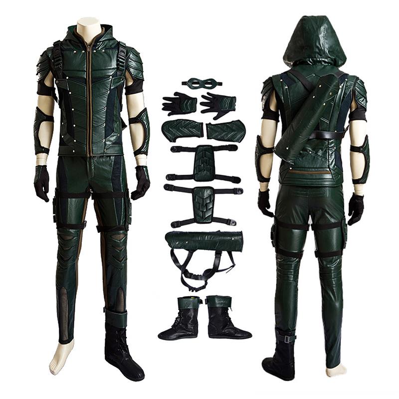 DC Green Arrow Four Seasons Upgrade Hero Oliver Cosplay Costume