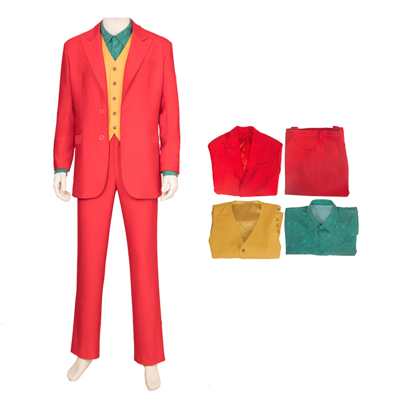 Batman Movie Cosplay Costumes Joker Costume Red Suit Full Set