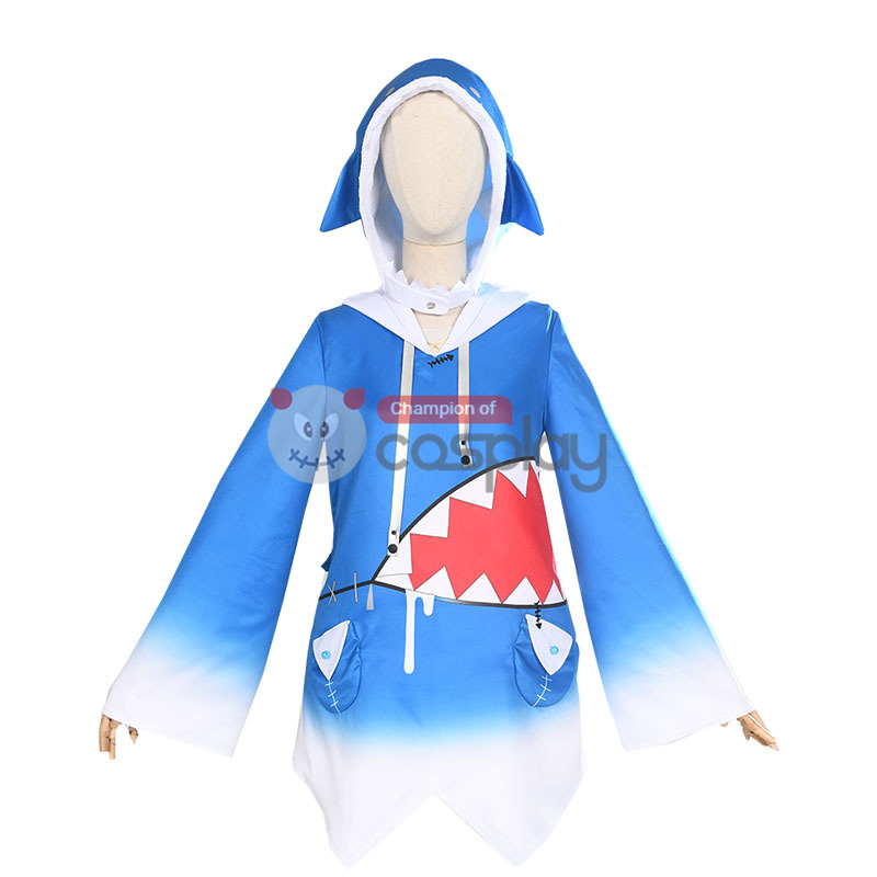 Holdlive English Virtual YouTuber Cosplay Suit Gawr Gura Costume