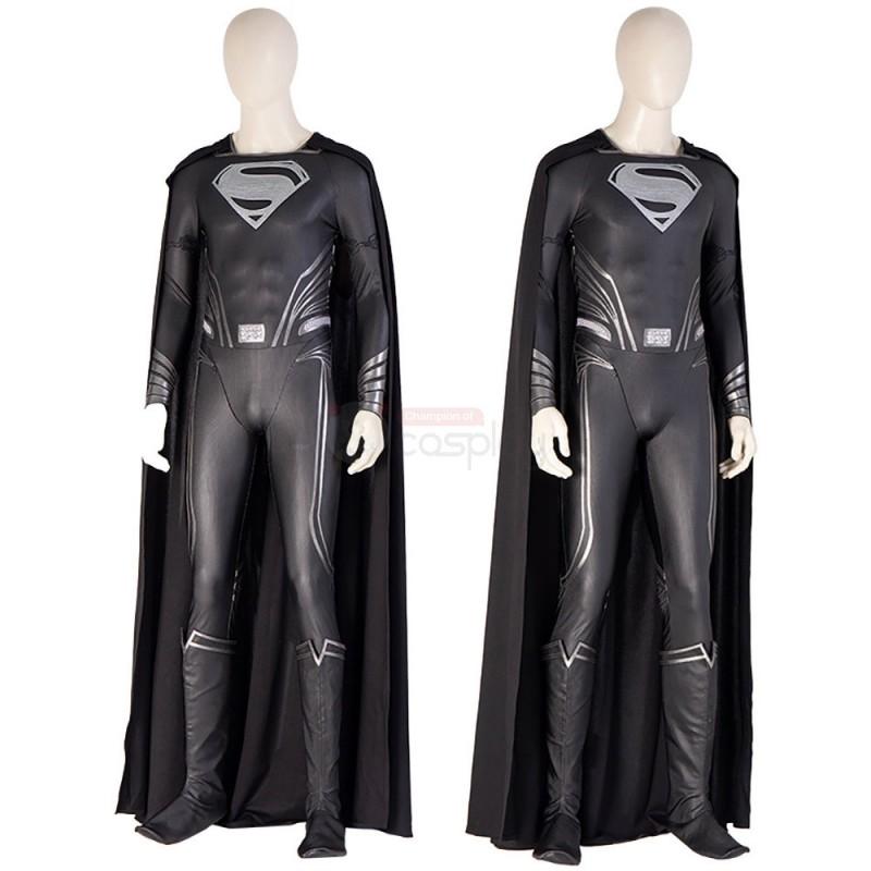Zack Snyder Superman Costume Justice League Clark Kent Black Cosplay Suit