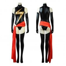 Captain Marvel Costume Carol Danvers Black Thunder Logo Jumpsuit Cosplay Costumes
