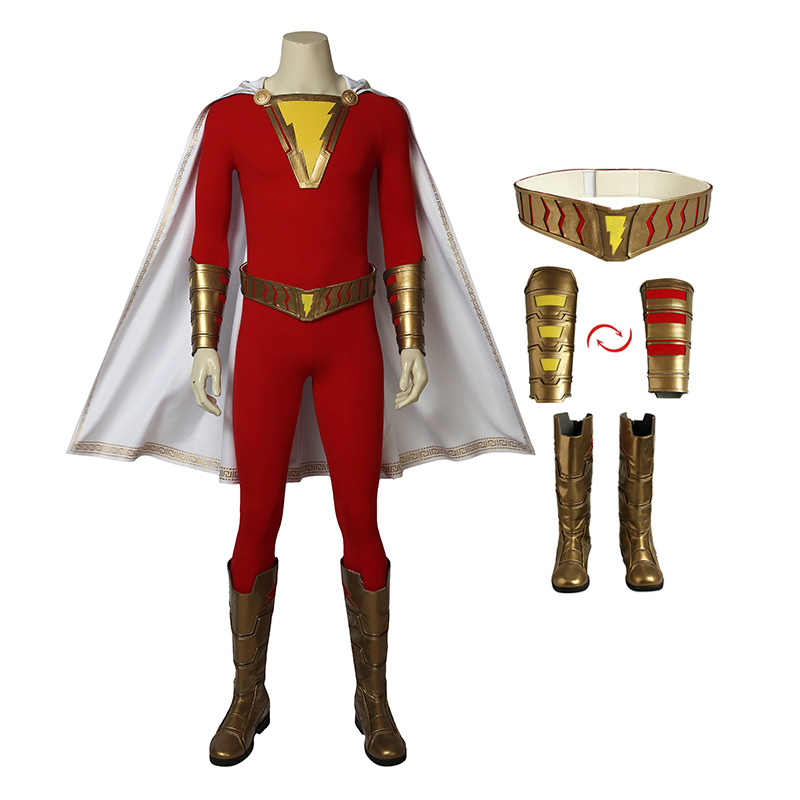 Full Set Of Shazam Costume Billy Batson Captain Marvel Cosplay Costumes