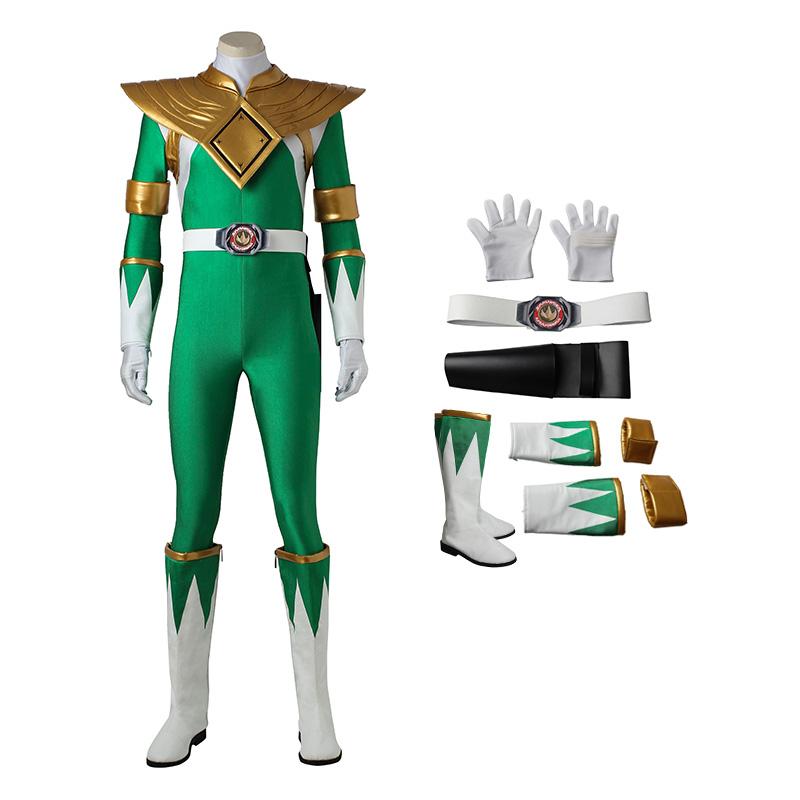 Burai Dragon Ranger Costume Green Mighty Morphin' Power Rangers Cosplay Costumes