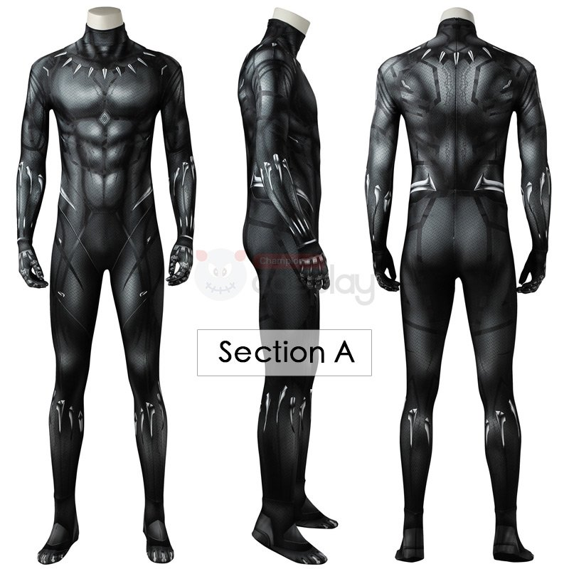 Black Panther Jumpsuit T'Challa Cosplay Costumes