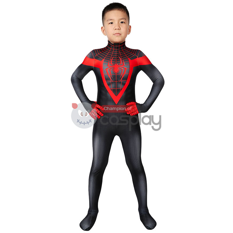 Kids Ultimate Spider Man Cosplay Costume Spiderman PS5 Miles Morales Jumpsuit