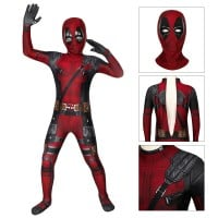 Kids Deadpool Cosplay Costume Deadpool Jumpsuit full set