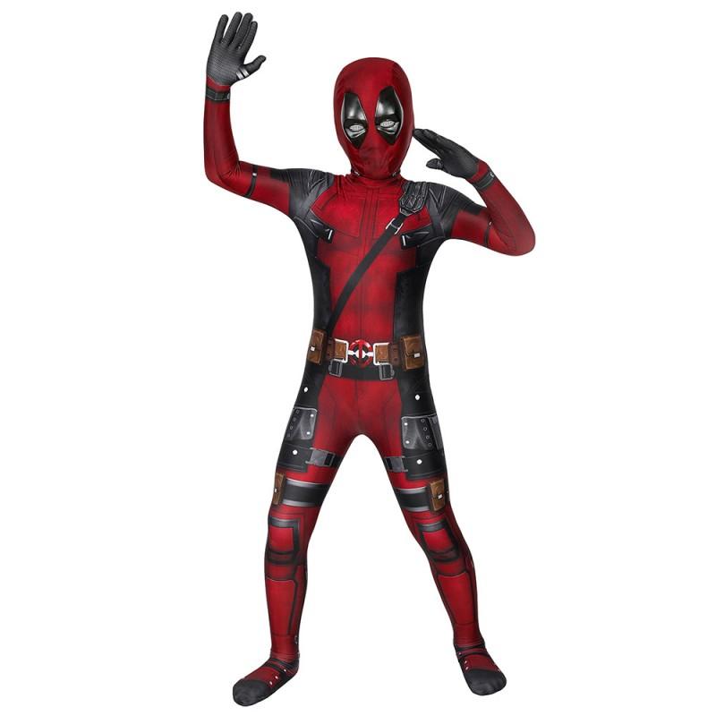 Kids Deadpool Cosplay Costume Deadpool Jumpsuit full set