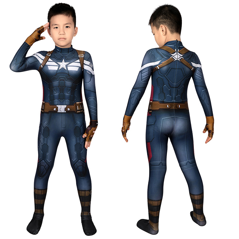Captain America The Winter Soldier Steve Rogers Cosplay Jumpsuit for Kids