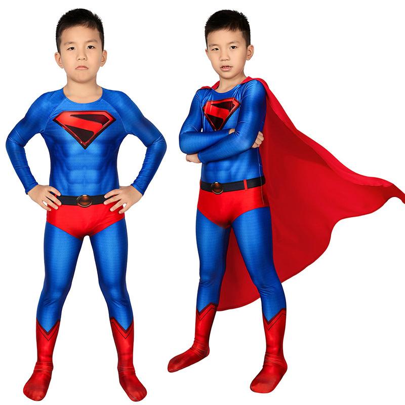 Crisis on Infinite Earths Superman Kal-El Cosplay Costume Clark Kent Jumpsuit for Kids