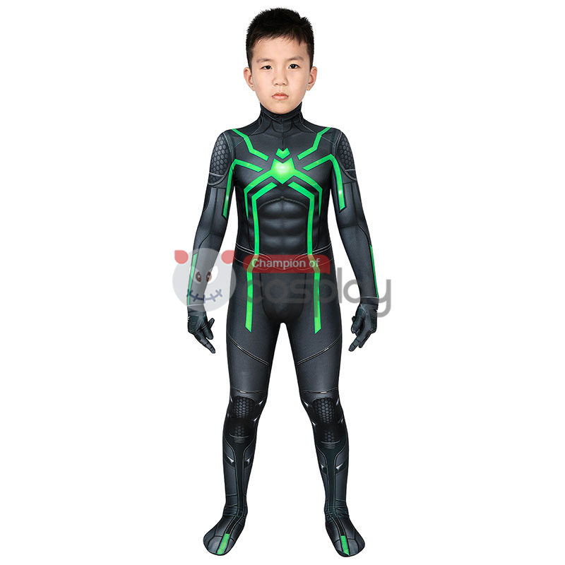 Spider Man Stealth Big Time Cosplay Costume Spiderman Jumpsuit for Kids
