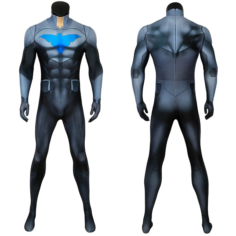 Son Of Batman Damian Wayne Cosplay Costume Nightwing Jumpsuit for Adult