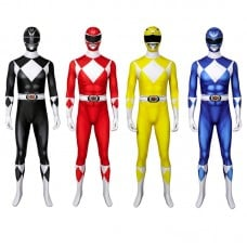 Adult Power Rangers Jumpsuit Mighty Morphin Power Rangers Cosplay Costume
