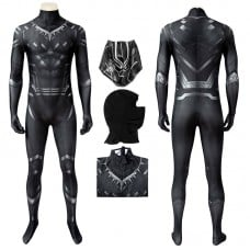 Captain America Civil War Cosplay Suit Black Panther T'Challa Jumpsuit
