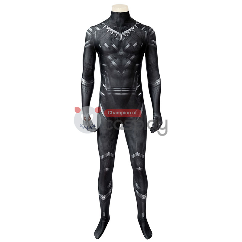 Captain America Civil War Cosplay Suit Black Panther T'Challa Jumpsuit