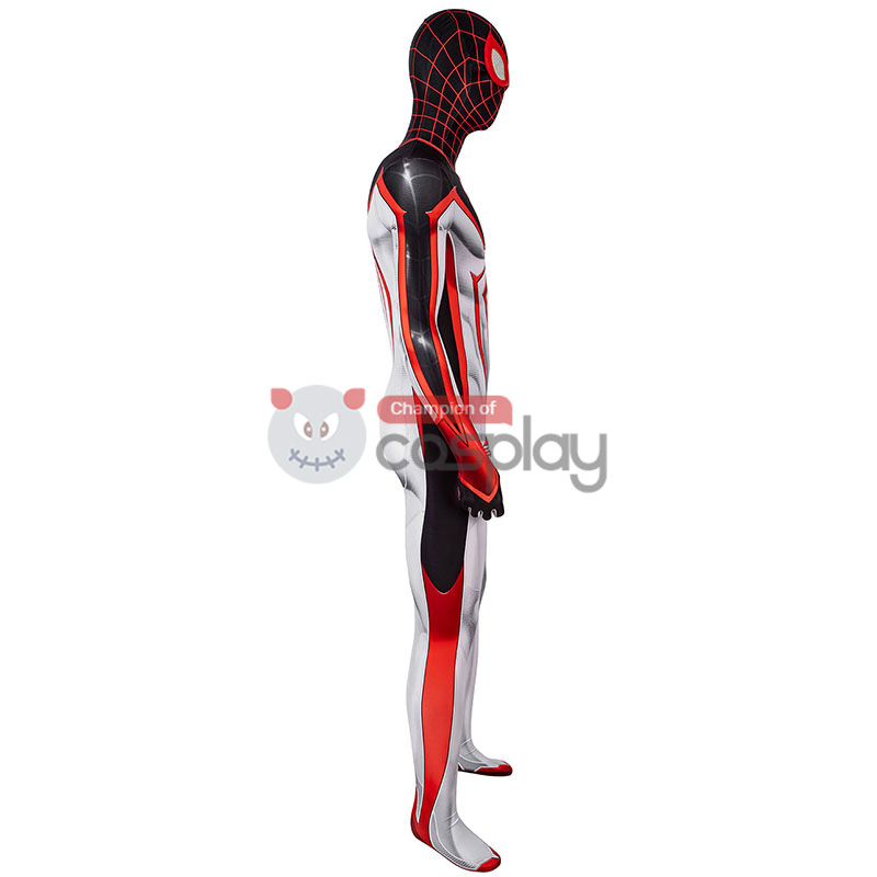 Spider-Man TRACK Suit White Spiderman Miles Morales Cosplay Costume